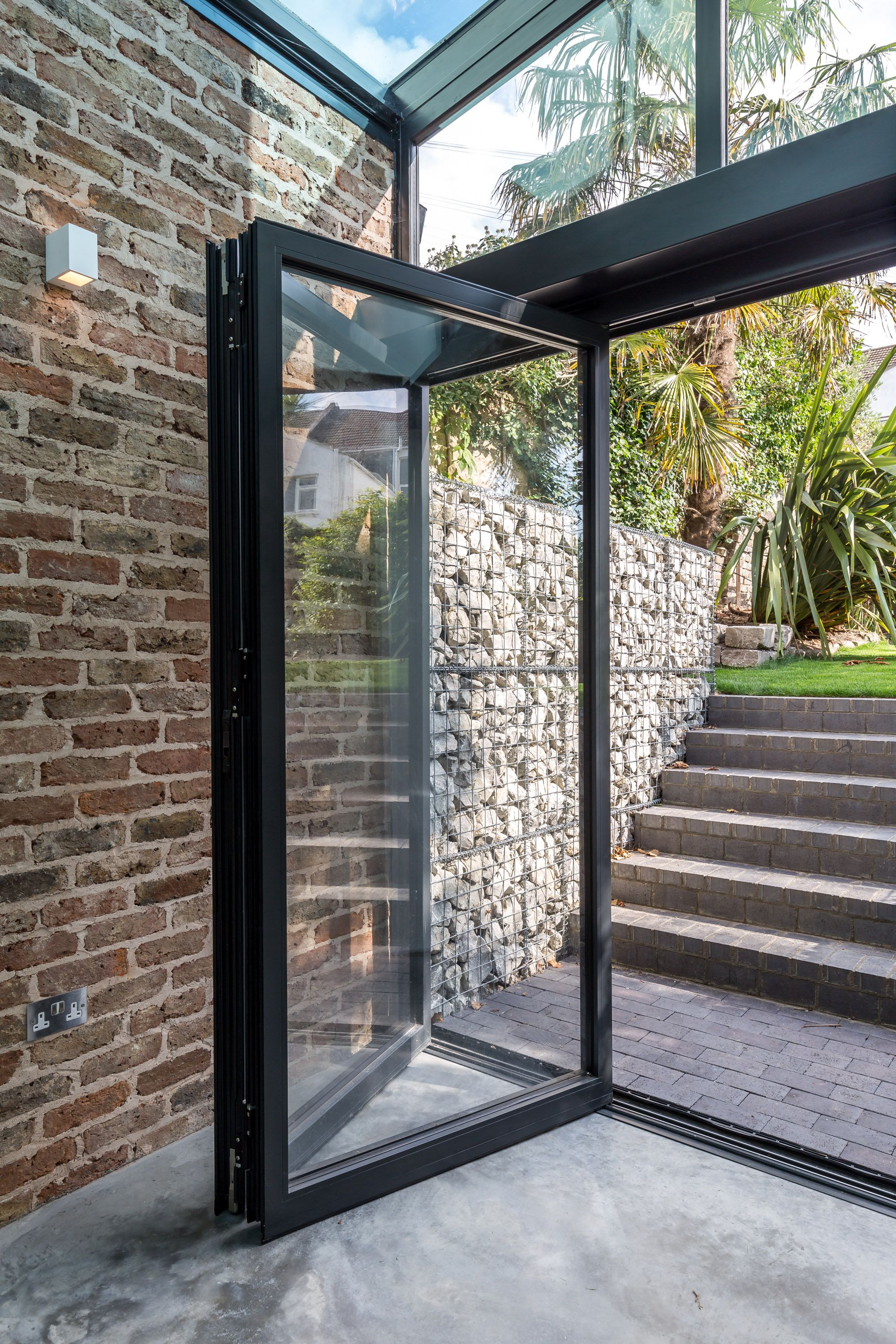 Folding Glass Doors External Black Aluminium Frame Feature