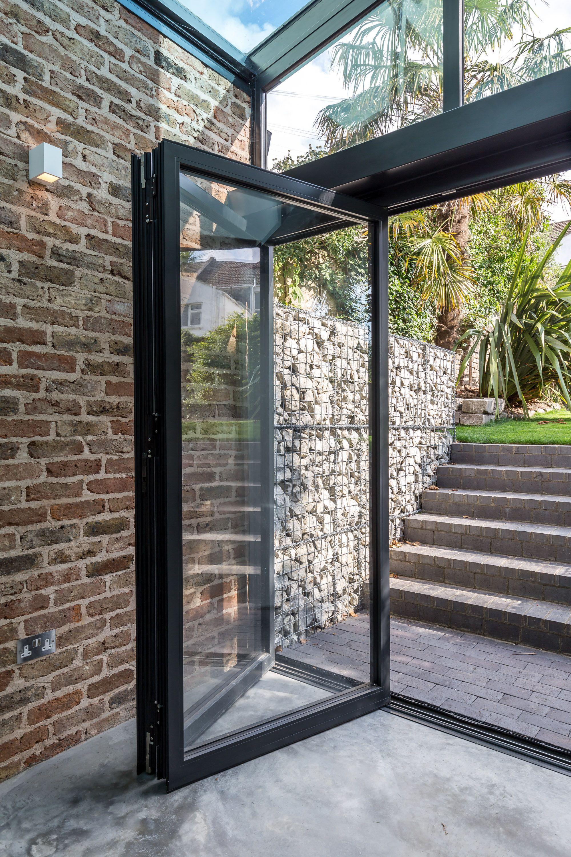 Folding glass doors external black aluminium frame for External glass walls