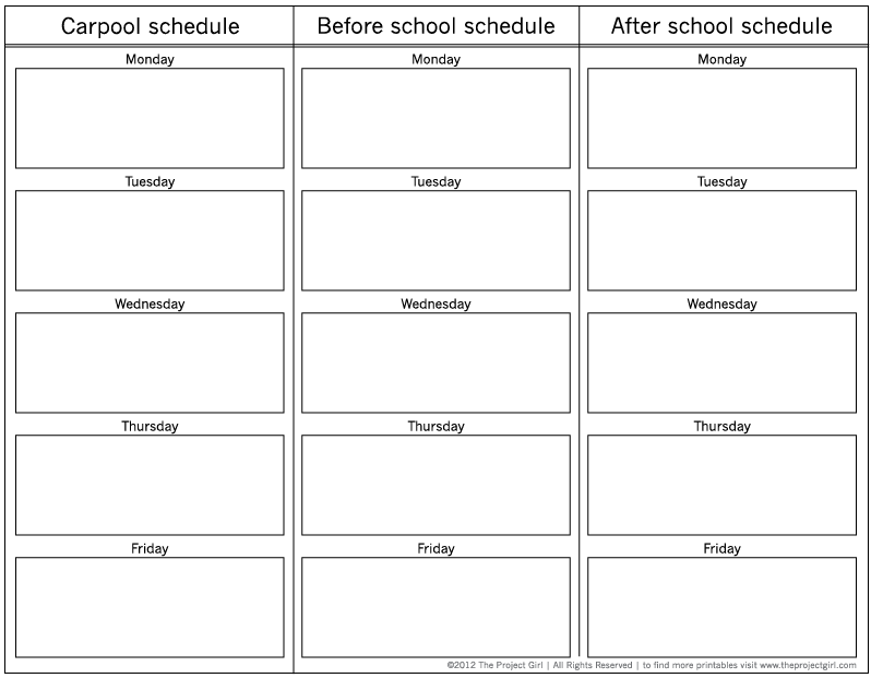 Carpool School Schedule Planner Free