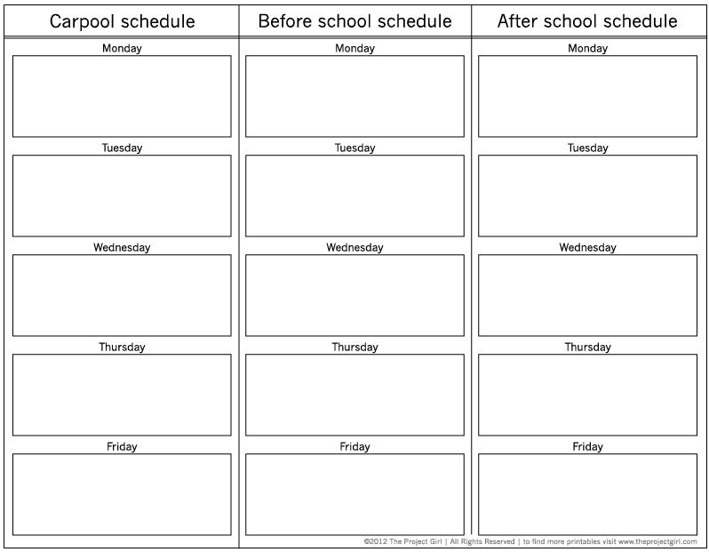 Carpool/School schedule planner *Free Download | Printable | Pinterest