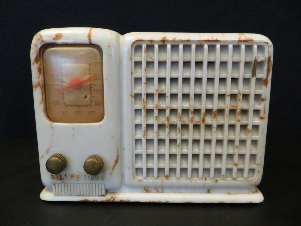 VINTAGE 1930s SILVERTONE ART DECO OLD SWIRLED MARLBLED COLORS ANTIQUE TUBE RADIO