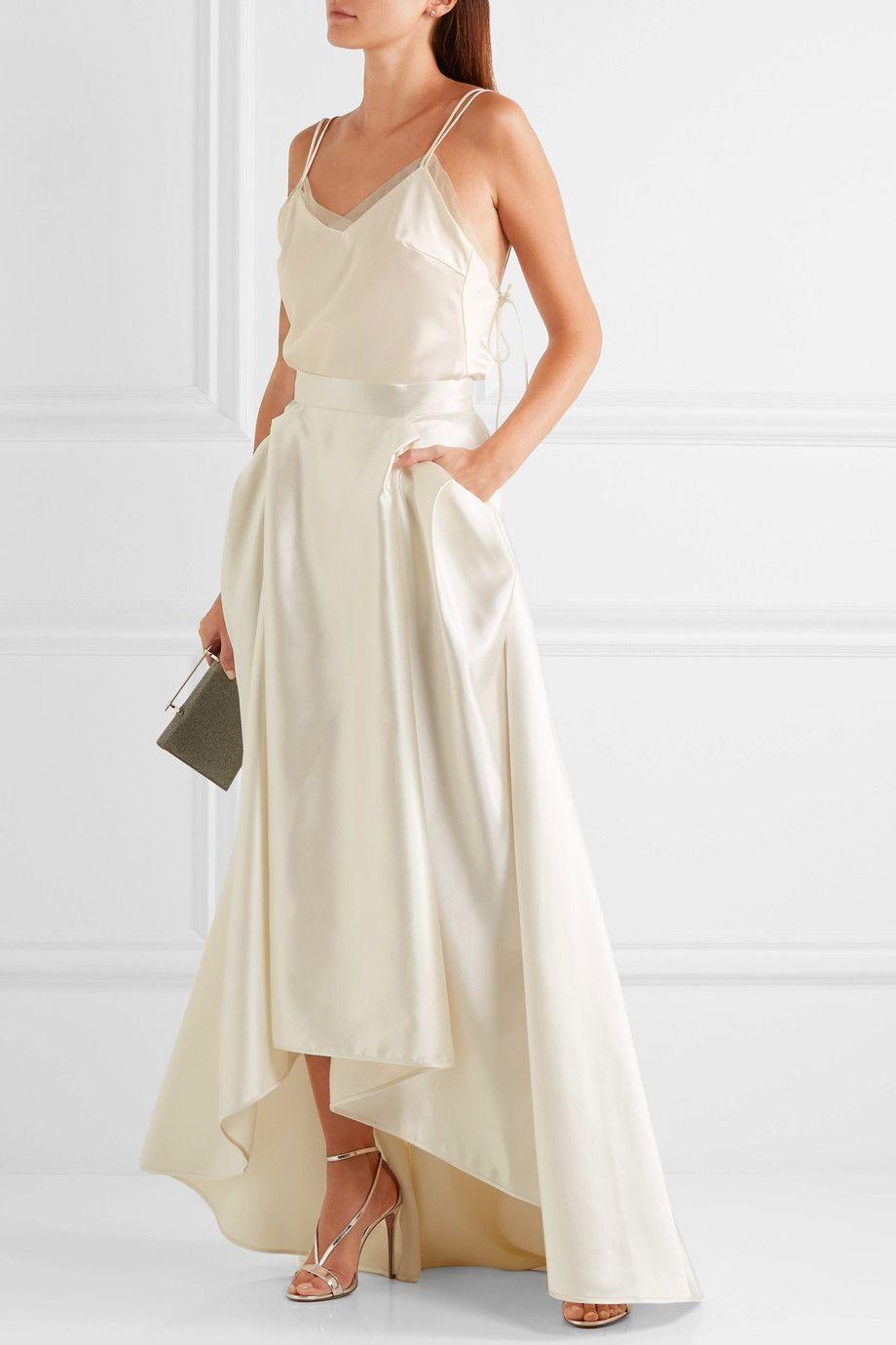 23e16a4ab6 Halfpenny London - Georgie pleated satin maxi skirt | Fashion Lust ...