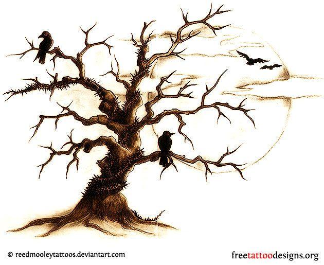 Crows in dead tree tattoo design | Tats I want | Pinterest | Baum ...