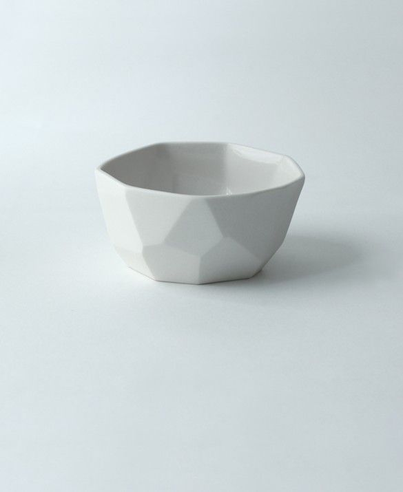 Faceted Bowl Small White Ceramic Pottery Ceramic Vessel Pottery
