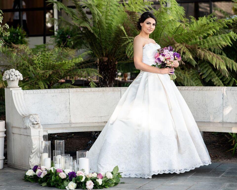 Bride Bridal Style Princess Wedding Gown Purple Flowers