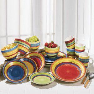 Brylanehome Santa Fe Hand Painted Striped Stoneware Dinnerware Stoneware Dinnerware Dinnerware Dinnerware Sets
