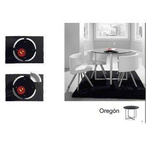 Conjunto de sillas y mesas Mod. Oregon 730,00 € Descripcion de la mesa:     Acabado en Exposi Gris     Cristal templado     Medidas: Alto 75cm, Diametro 100cm.  Descripción de las sillas     Acabado en Exposi Gris     Tapizado en Ecopiel colores Blanco   http://www.confortshop.es/mesas/119-conjunto-de-sillas-y-mesas-mod-indiana.html