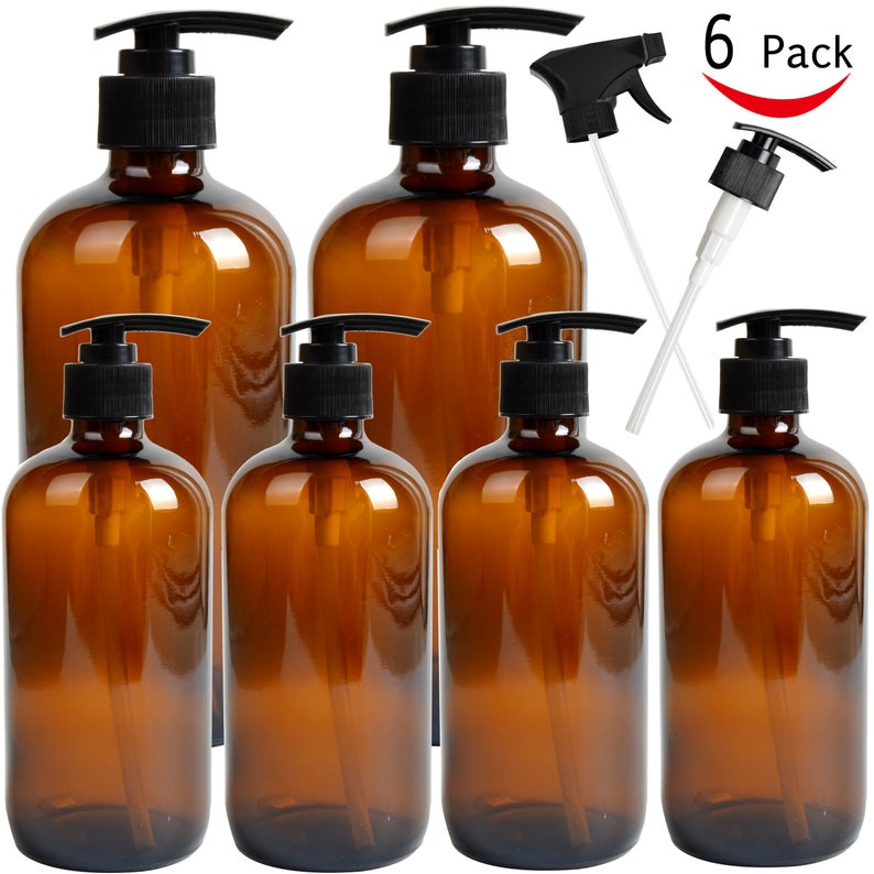 Youngever 6 Pack Empty Glass Pump Bottles 2 Pack 16oz And 4 Etsy In 2021 Amber Glass Bottles Amber Bottles Lotion Pumps