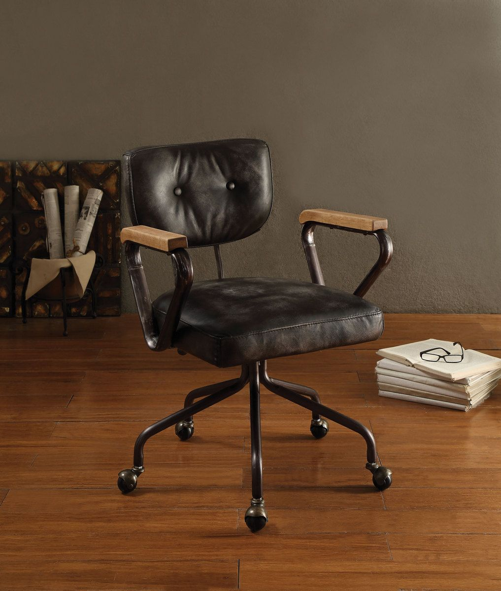 Hallie Executive Office Chair In Vintage Black Top Grain Leather Acme Furniture 92411 Executive Office Chairs Office Chair Home Office Furniture