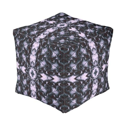 Lavender Muted Waves of Beauty Fractal Cube Pouf #ottoman #homefurnishing #furniture .  Made in the USA #americanmade #leatherwooddesign #zazzle