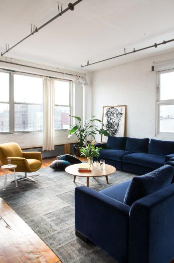 Best Ochre Deep Blue Color Combo Blue Sofas Living Room 400 x 300