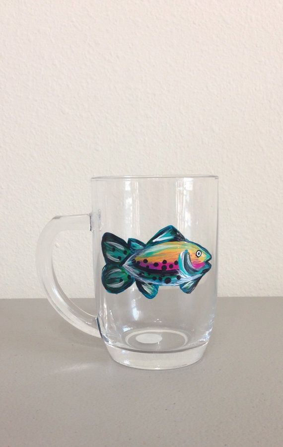 Coffee Cup with Hand Painted Rainbow Trout by GulfLifebyNichole
