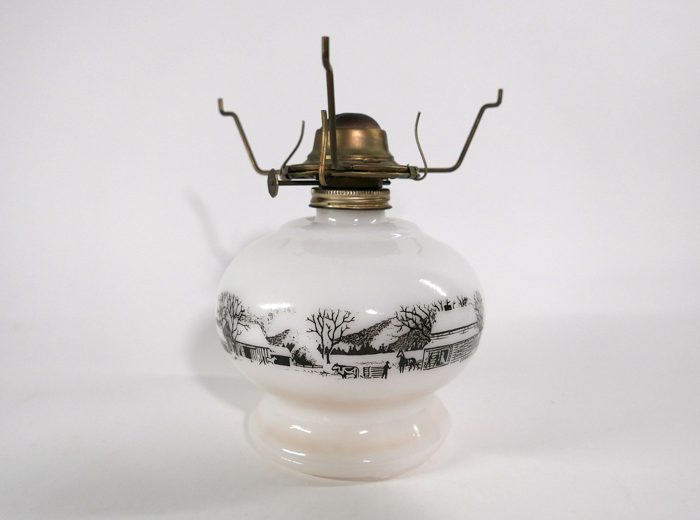 Vintage Milk Glass Oil Kerosene Lamp Base With A Currier And Ives Scene In 2020 Currier And Ives Lamp Bases Kerosene Lamp