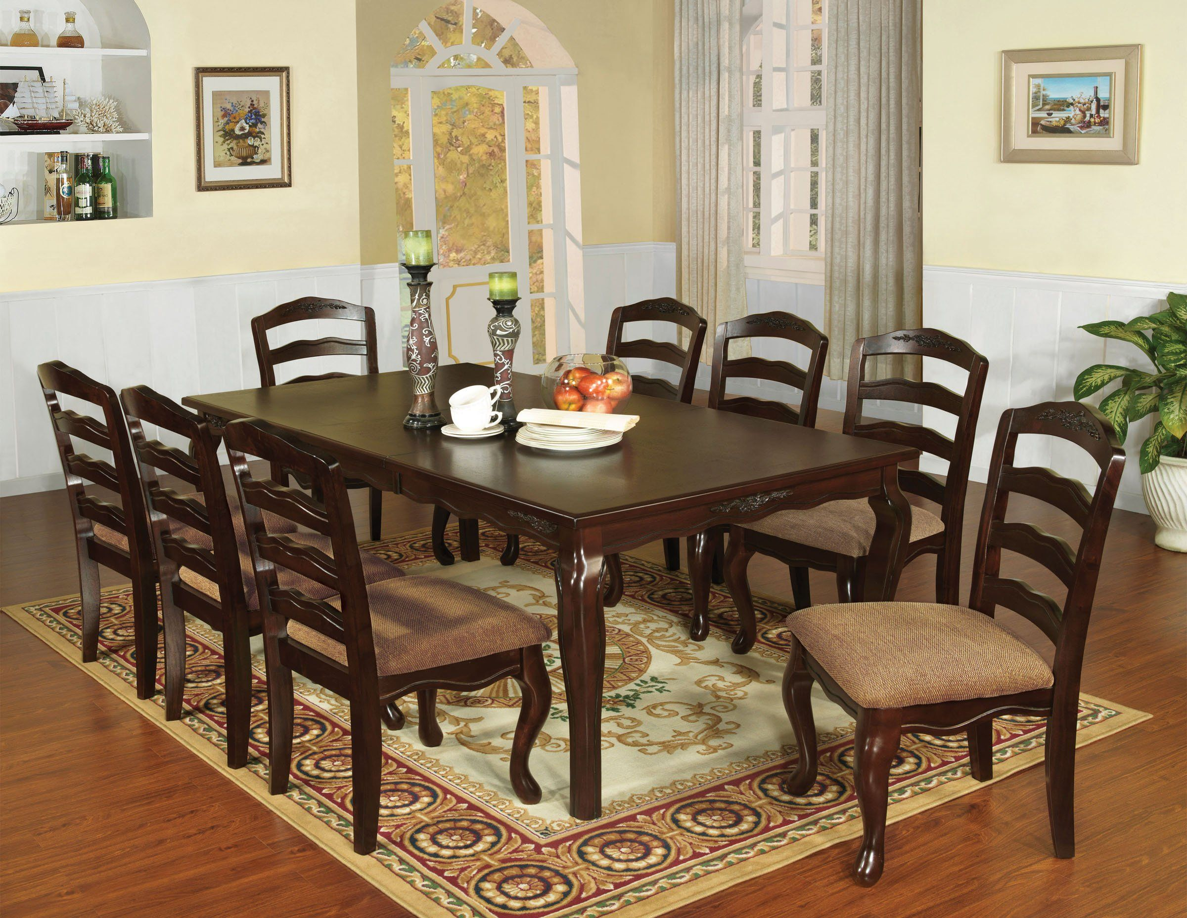 Furniture Of America Townsville Dark Walnut Wood Finish 78 Inch 9 Piece Dining Table Set Dining Room Sets Dining Table Solid Wood Dining Set