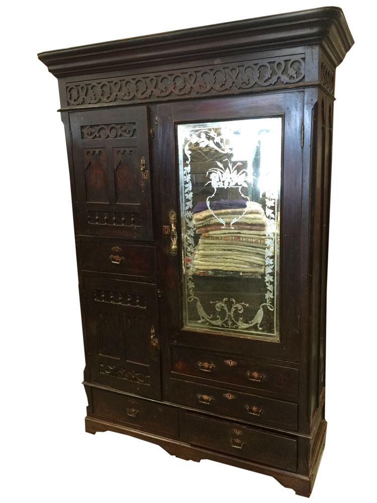 British Colonial Mid Century Mirrored Vintage Cabinet Bonita  Springs,Storage Armoire Miami USA,Vintage Cabinet Fort Myers  Florida,Antique Armoire Wardrobe ...