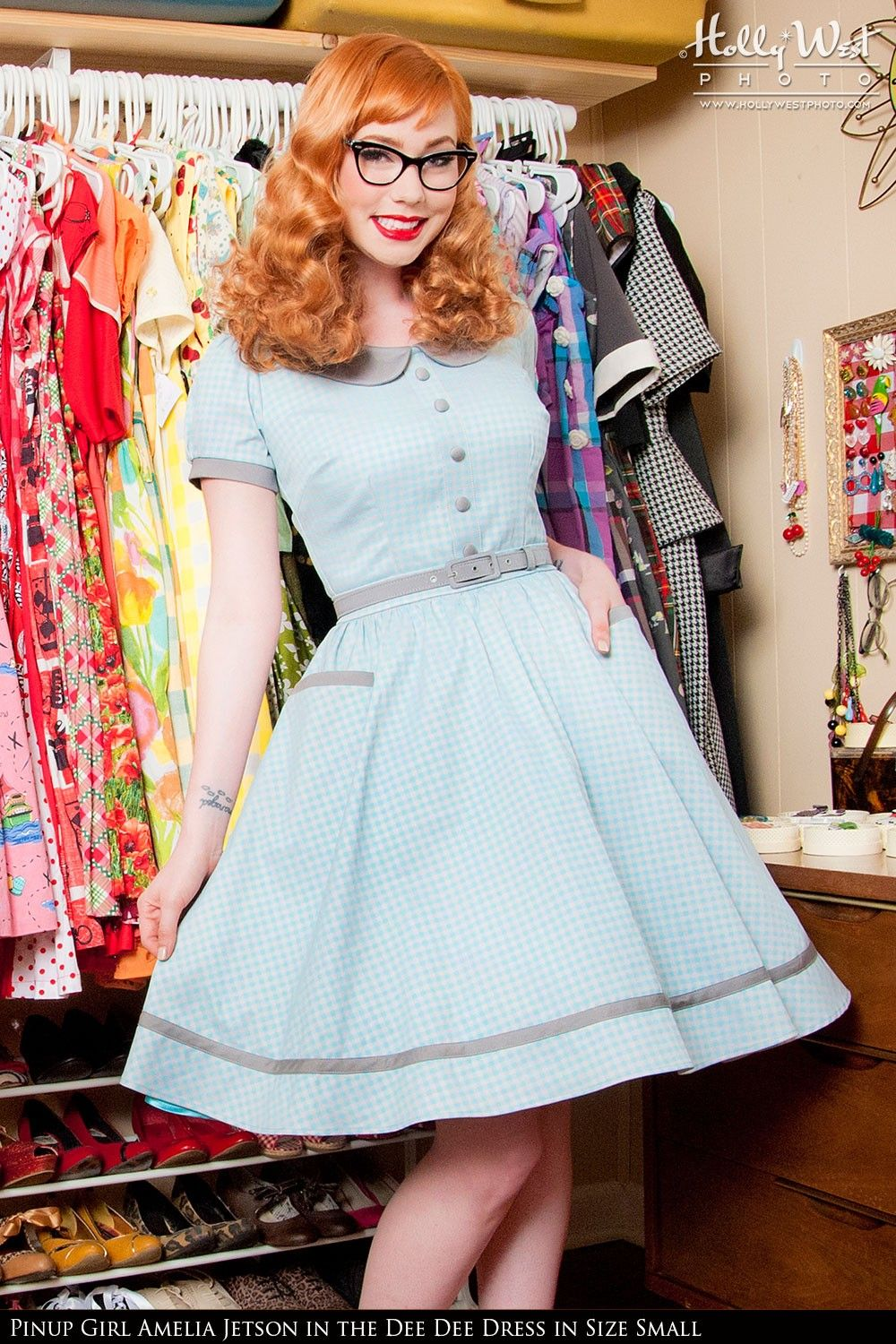 Pinup Couture- Dee Dee Dress in Grey and Baby Blue Gingham | Pinup Girl Clothing