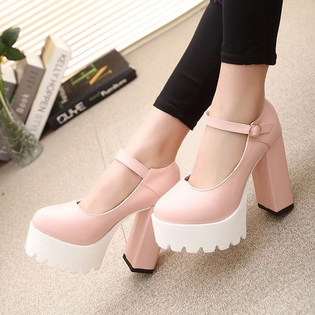 2015 весна и осень сладкий туфли на высоком каблуке женщины толстый каблук туфли на высоком каблуке 11 см засов мелкая рот женской сандалии