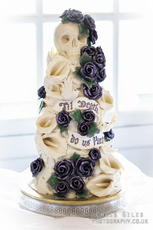 Til Do Us Part Wedding Cake With White Tulips Sparkling Black Roses