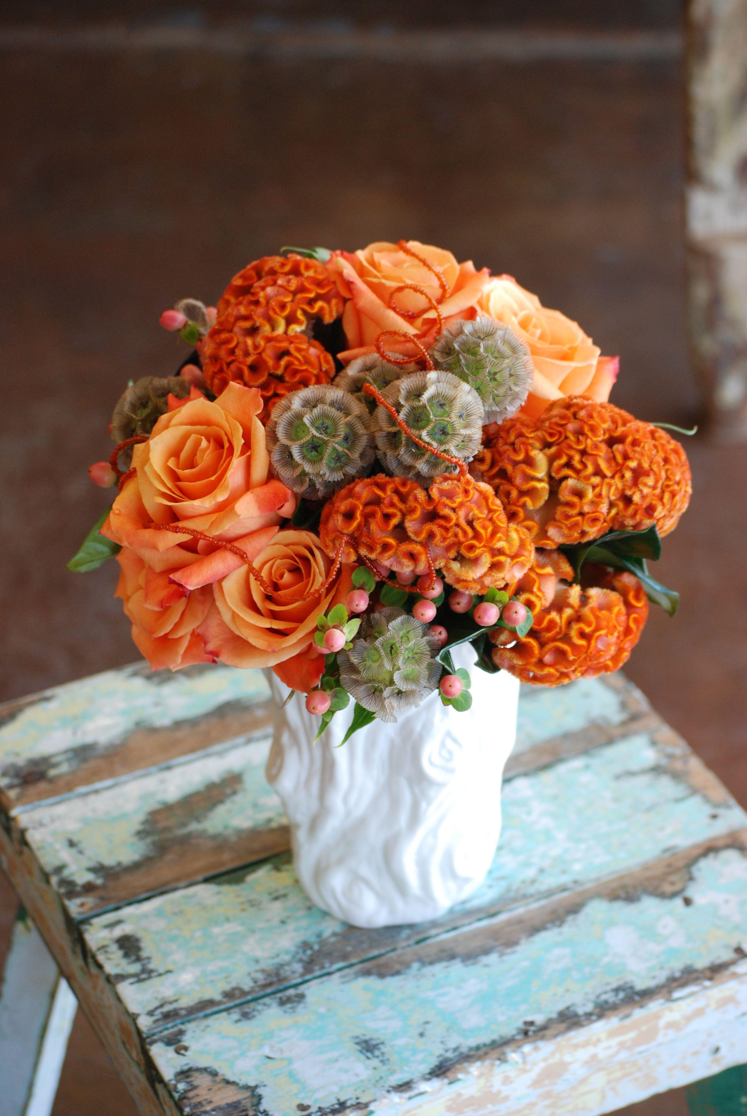 Orange Fall Flowers, Orange Brain Celosia, Orange Roses