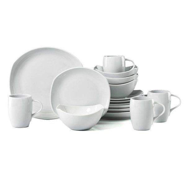 Dansk 16 Piece Classic Fjord Porcelain Dinnerware Set White Porcelain Dinnerware Dinnerware Set Dishware Sets