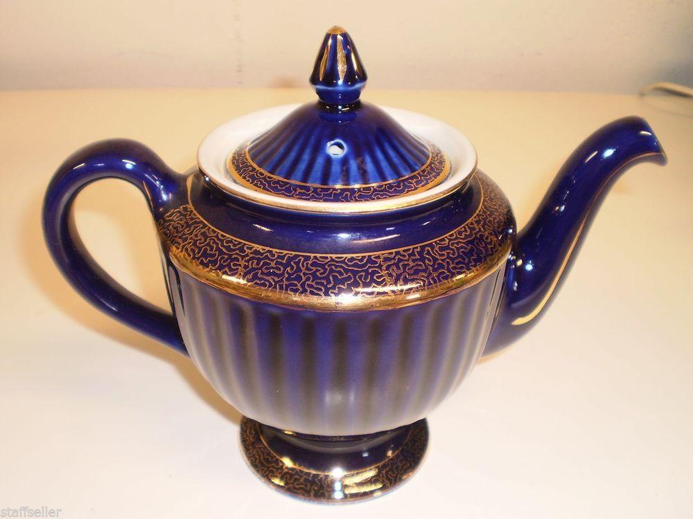 Vtg Hall 6 Cup 083 Cobalt Blue Teapot With Gold Trim Usa