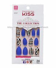 Kiss 24 Glue Press On Nails Blue Black White Jewels Collection Medium Stiletto Kiss Glue On Nails Stiletto Nails Trendy Nails