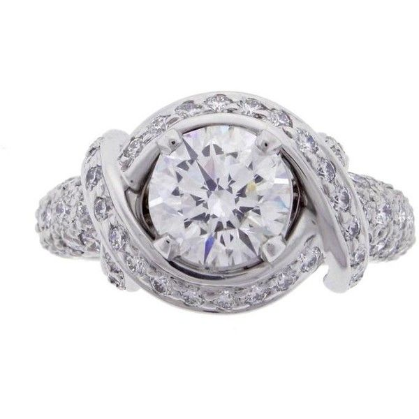 a8dae9b9d Jean Schlumberger Diamond Platinum Engagement... ($26,450) ❤ liked on Polyvore  featuring jewelry, rings, multiple, platinum jewelry, pre owned jewelry, ...