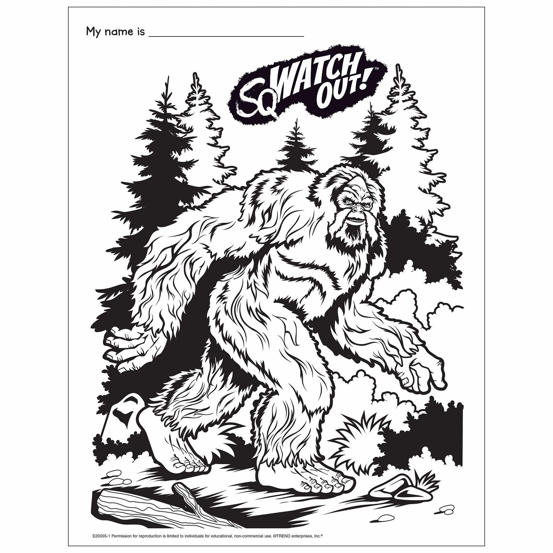 Bigfoot Coloring Page Free Printable Creative Activities For Kids Coloring Pages Family Card Games