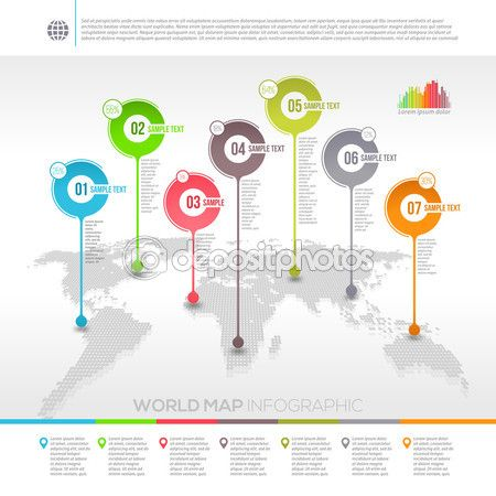 template vector design world map infographic with map pointers stock