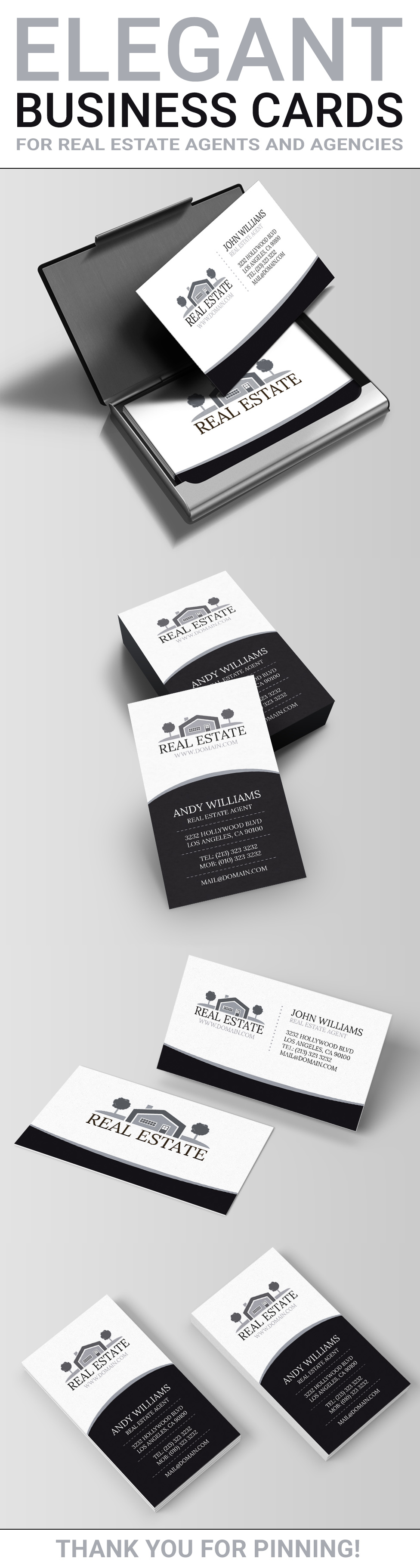 Real estate business card template realtor business cards elegant black and white real estate business cards template horizontal and vertical business cards in reheart Images