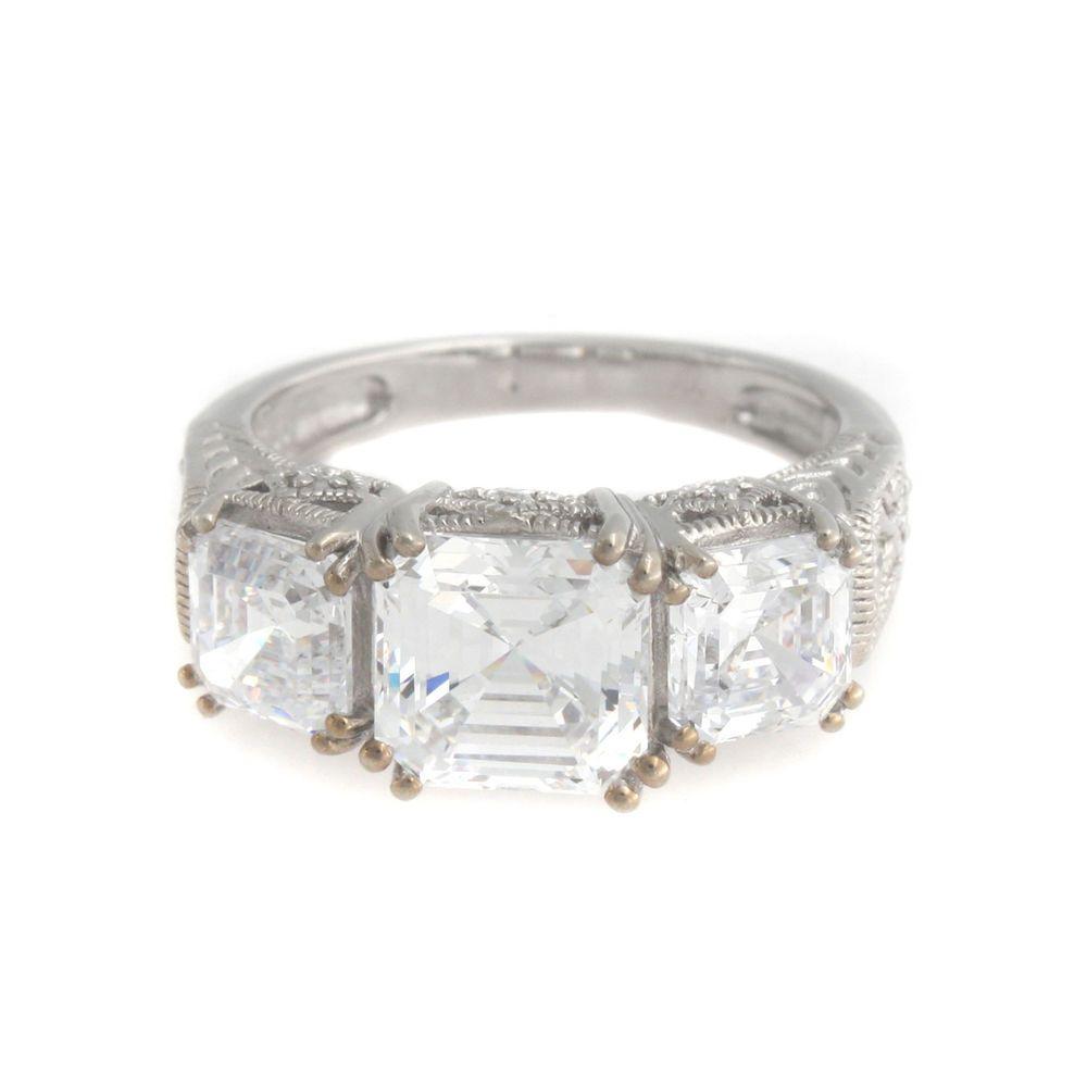 hsn wedding rings hsn Xavier 5 62ct Absolute Asscher Cut 3 Stone Sterling Silver Ring 8 T Absolute