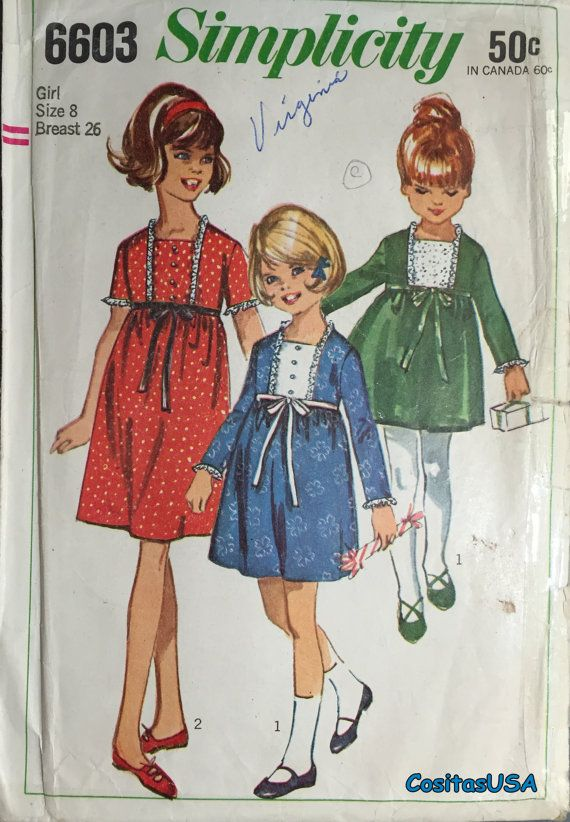 Simplicity 6603 Vintage Sewing Pattern Girls One Piece Dress ...