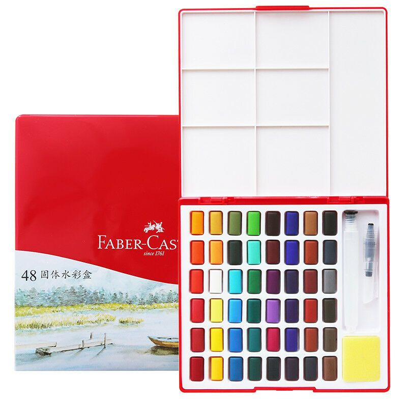 Details About Faber Castell 24 36 48 Colors Solid Watercolor Cakes