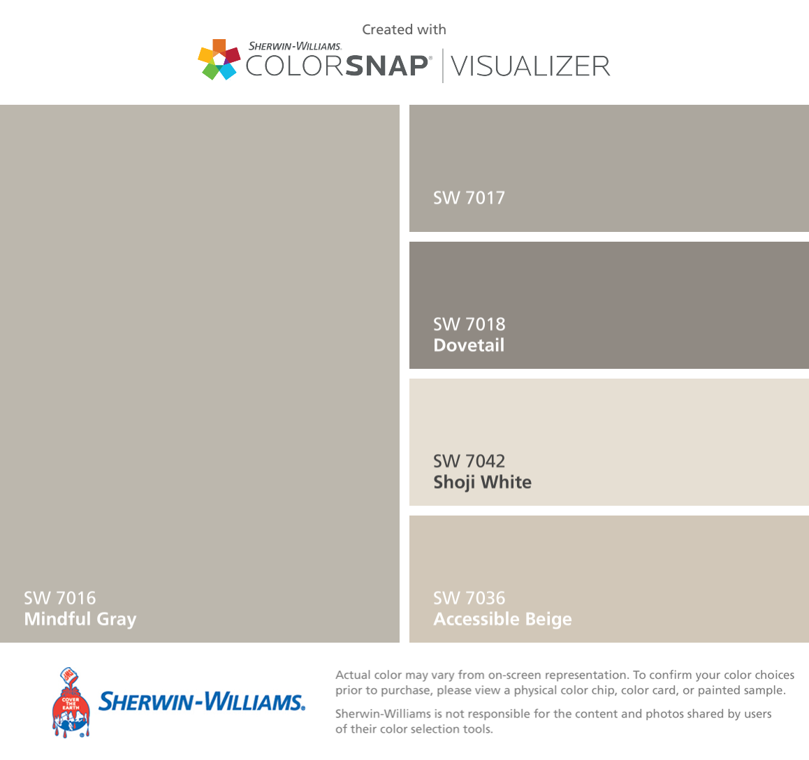 I Found These Colors With Colorsnap Visualizer For Iphone By Sherwin Williams Mindful