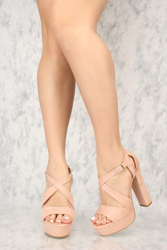 d34436f0fe Sexy Mauve Open Toe Platform Chunky High Heels Faux Suede in 2019 ...