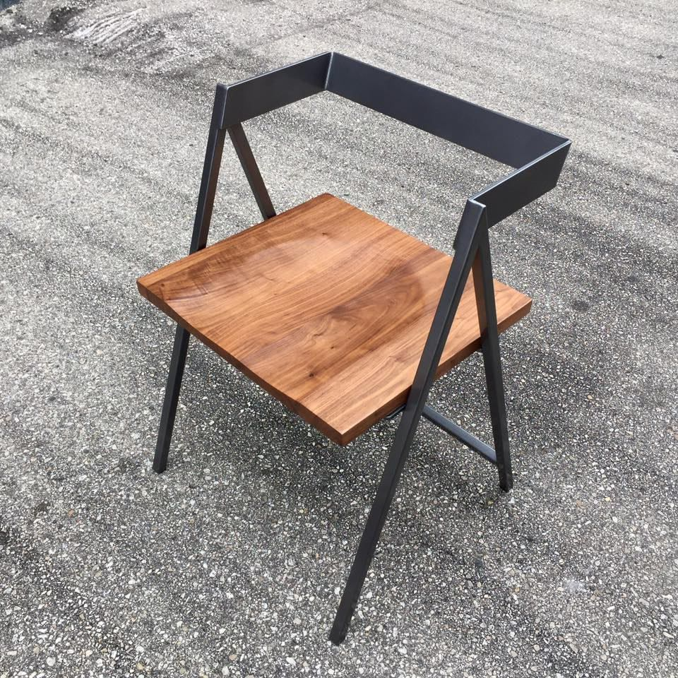 Handcrafted wood and metal frame dining chair model name