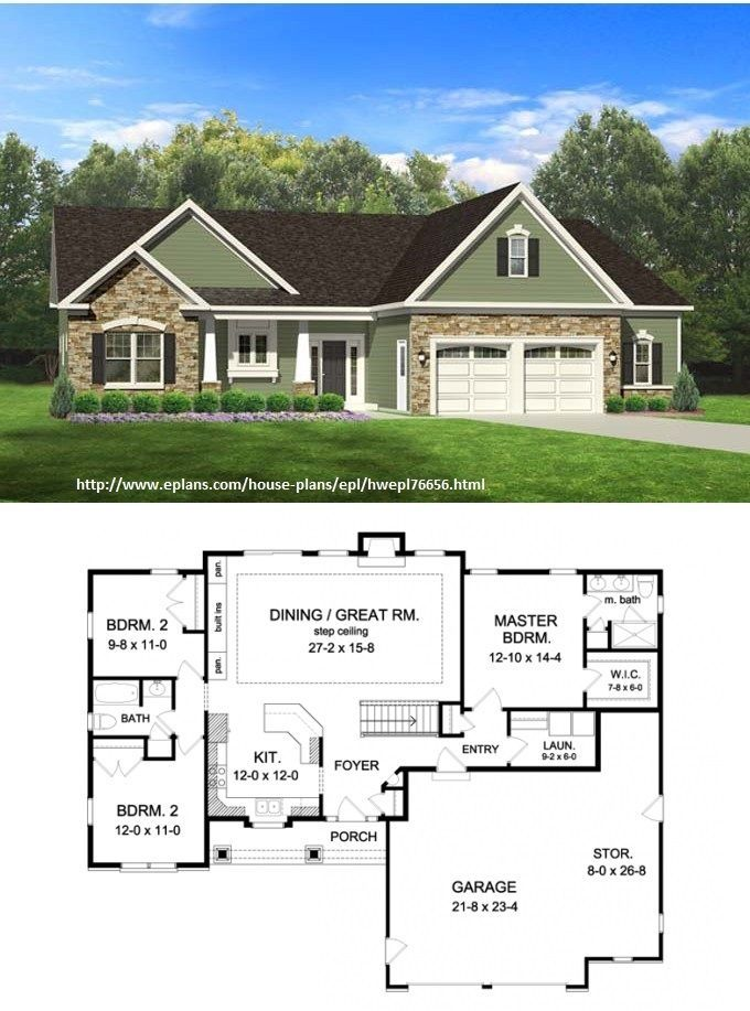 Eplans ranch house plan 1598 square feet and 3 bedrooms 2 baths house plan code hwepl76656 - Single story house plans with basement concept ...