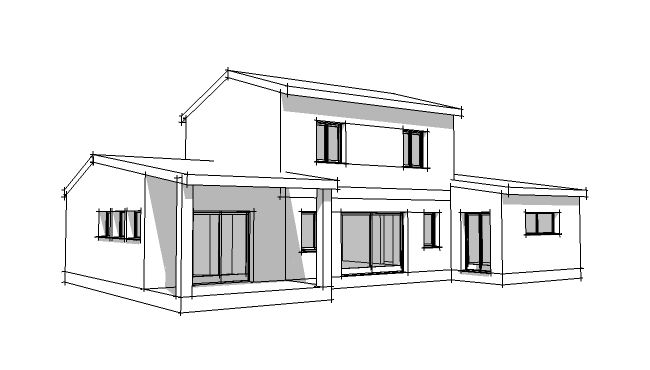Dessin de maison traditionnelle en perspective 3d for Dessiner une maison