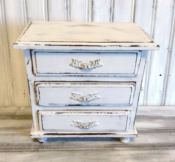 Vintage White Jewelry Box Shabby Chic by LetaPearlEmporium on Etsy