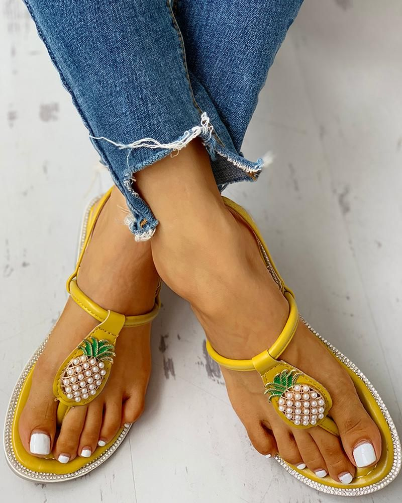 Pineapple Embellished Toe Post Flat Sandals Pineapple Embellished Toe Post Flat Sandals
