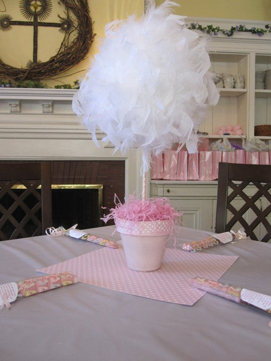 Feather Balls Centerpieces - maybe with a smaller foam ball and tulle