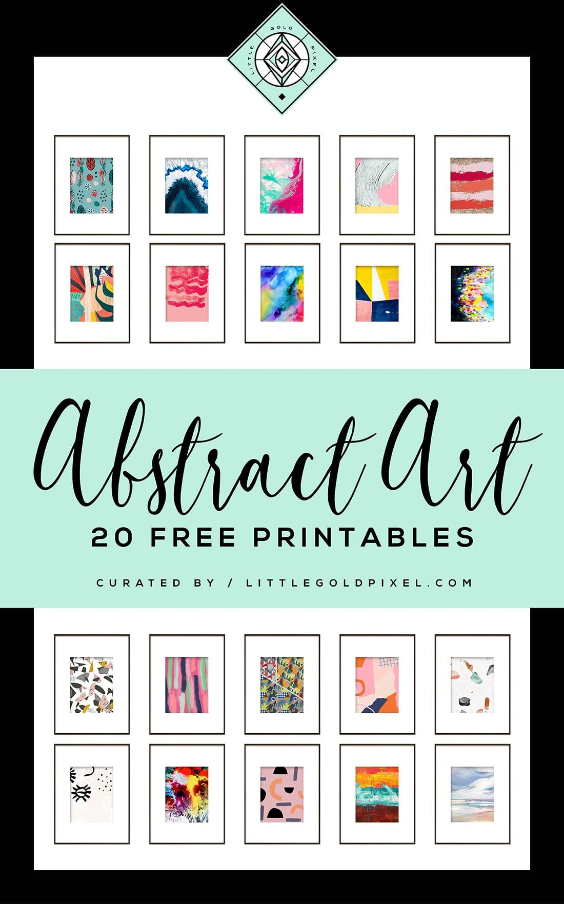 20 Free Abstract Art Printables for Your Gallery Walls • Little Gold Pixel