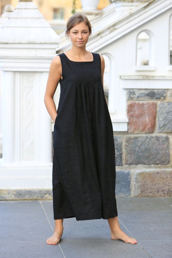 Long linen dress. Black linen dress   Loose summer dress   Linen clothing    women linen   maternity
