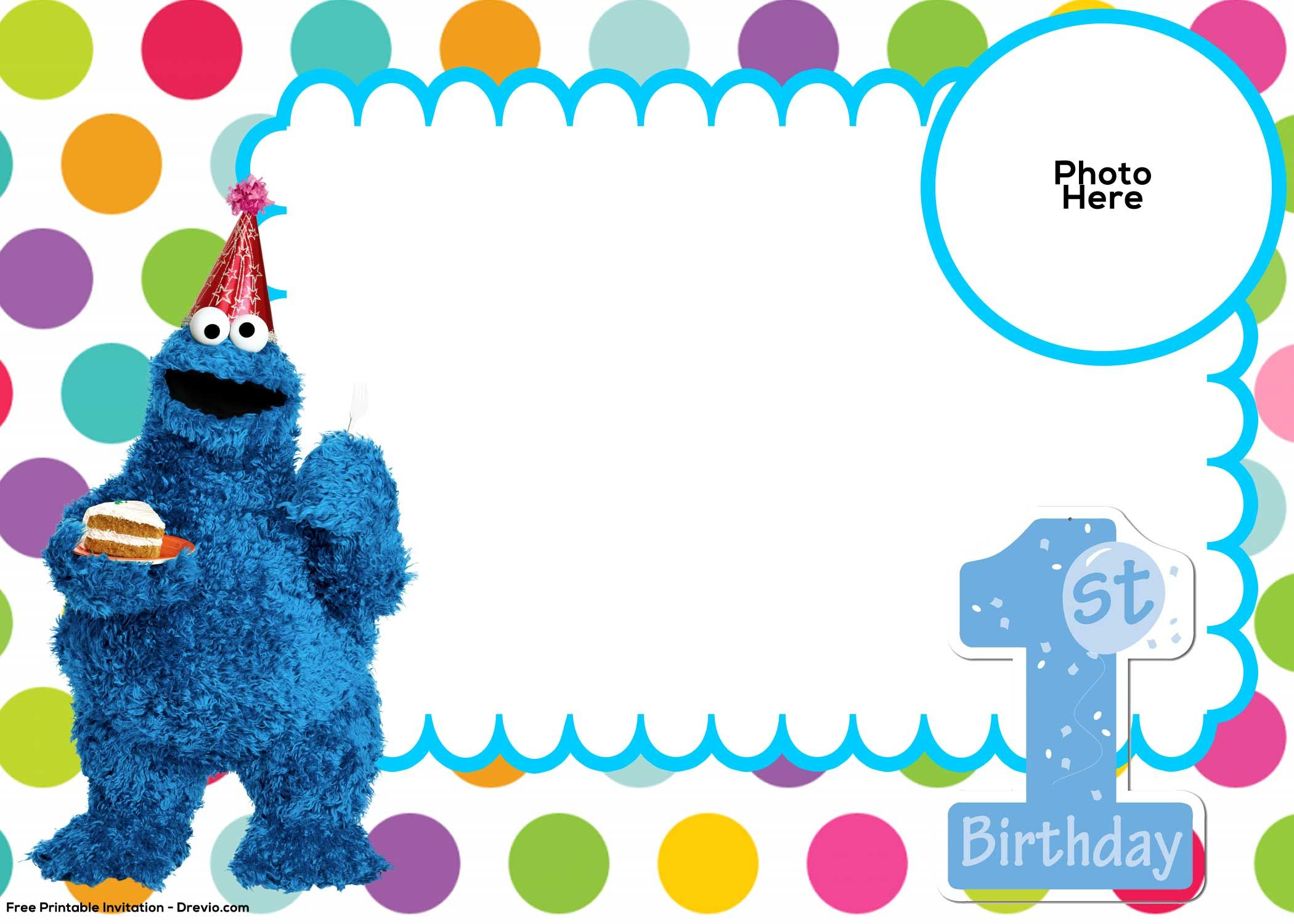 Cool Free Sesame Street St Birthday Invitation Template  Free