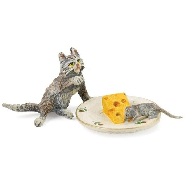 Austrian Bronze Cat, Mouse, Cheese Plate Figurine ($195) ❤ liked on Polyvore featuring home, home decor, cat figurines, cat figure, mouse figurines, cat home decor and bronze figurines