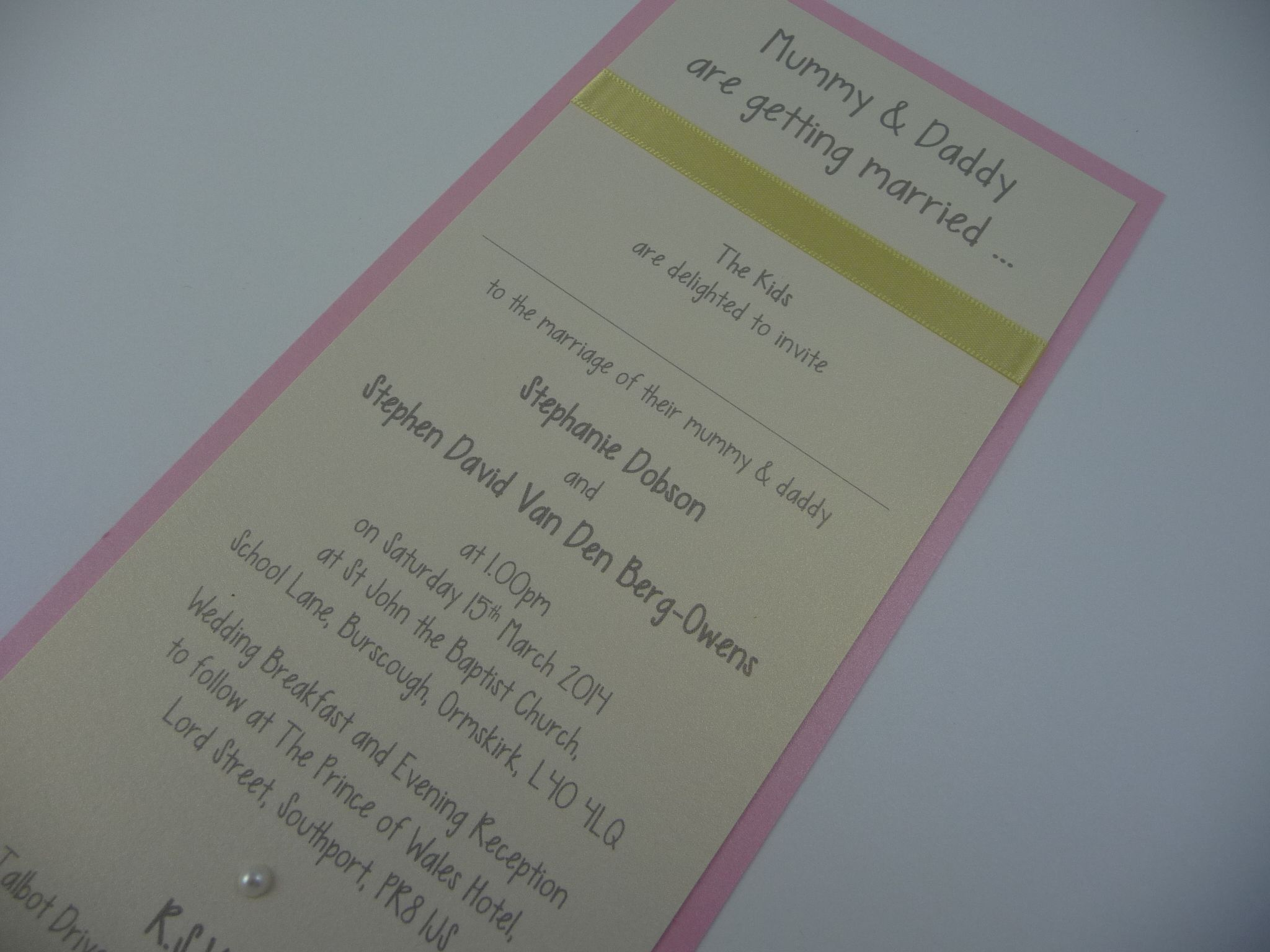 Mummy Daddy Are Getting Married Themed Wedding Invitations With A Baby Pink And Lemon Colour