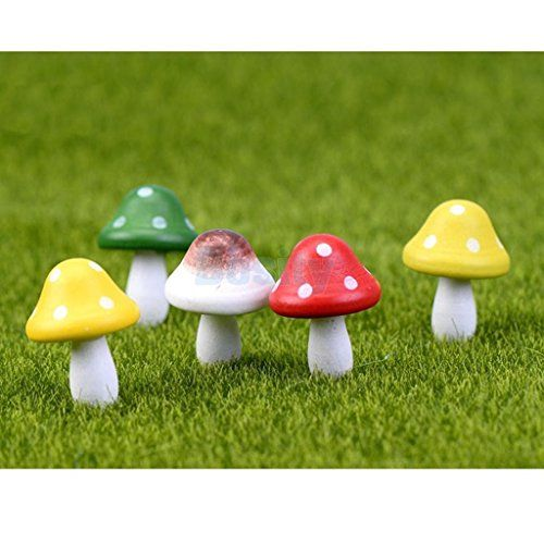 10X*Mini Colorful Mushroom Garden Ornaments Miniatures Plant Pot Fairy DollB ys