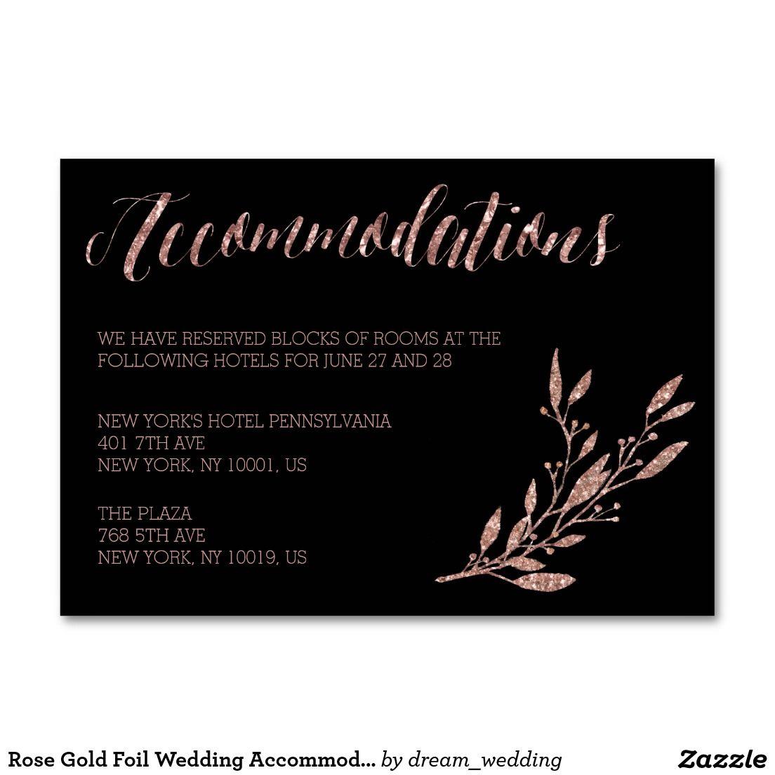 Rose Gold Foil Wedding Accommodation Floral Black