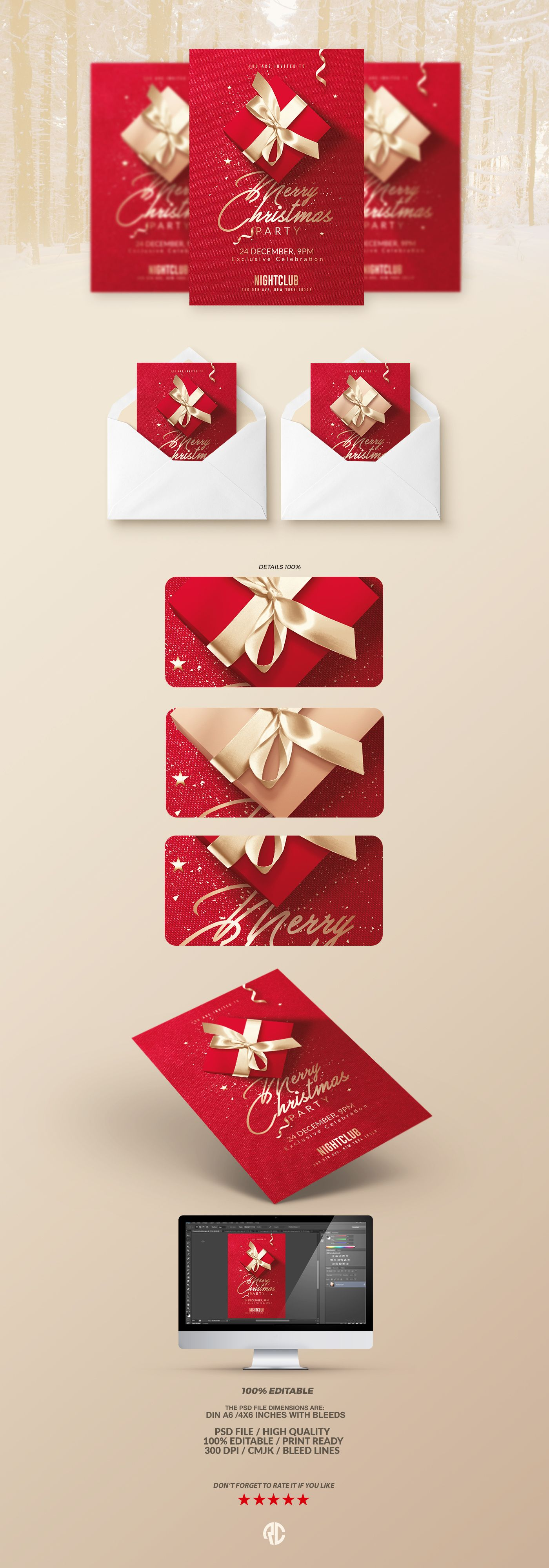 Christmas Invitation  Flyer Templates Psd Files Available  All