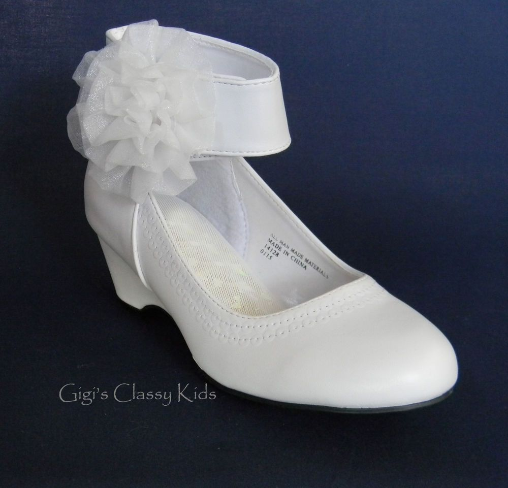 New white girls wedge dress shoes kids toddler party for Girls dress shoes for wedding